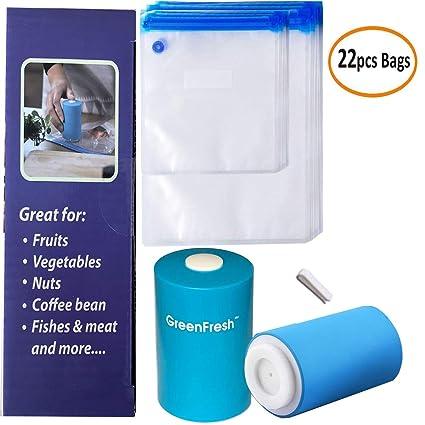 Kit de bolsas Sous Vide, 22 bolsas selladas al vacío de alimentos sin BPA reutilizables con mini sellador al vacío, prácticas para almacenar alimentos ...
