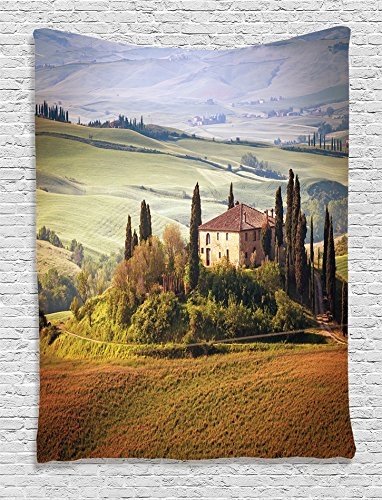 Tuscany Wall Decor - Ambesonne Tuscan Decor Collection, Tuscany Seen from Stone Ancient Village of Montepulciano Italy Photography, Bedroom Living Kids Girls Boys Room Dorm Accessories Wall Hanging Tapestry, Green Beige