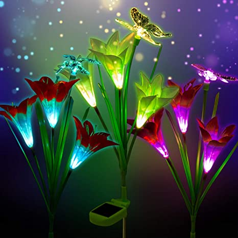 9b28d8064 3 Pack Outdoor Solar Garden Stake Lights - Solar Powered Multi-color  Changing Lights with