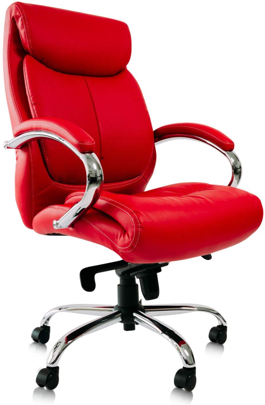 B/ürostuhl Schreibtischstuhl Drehstuhl Sessel Stuhl Beige Chrome Kunstleder Kijng Chefsessel Kings