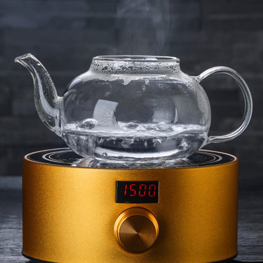 Tetera de cristal Filtro de acero inoxidable extra/íble y filtro de boquilla Capacidad de volumen 800 ml Vidrio de borosilicato resistente al calor Tipo: 600 ml.