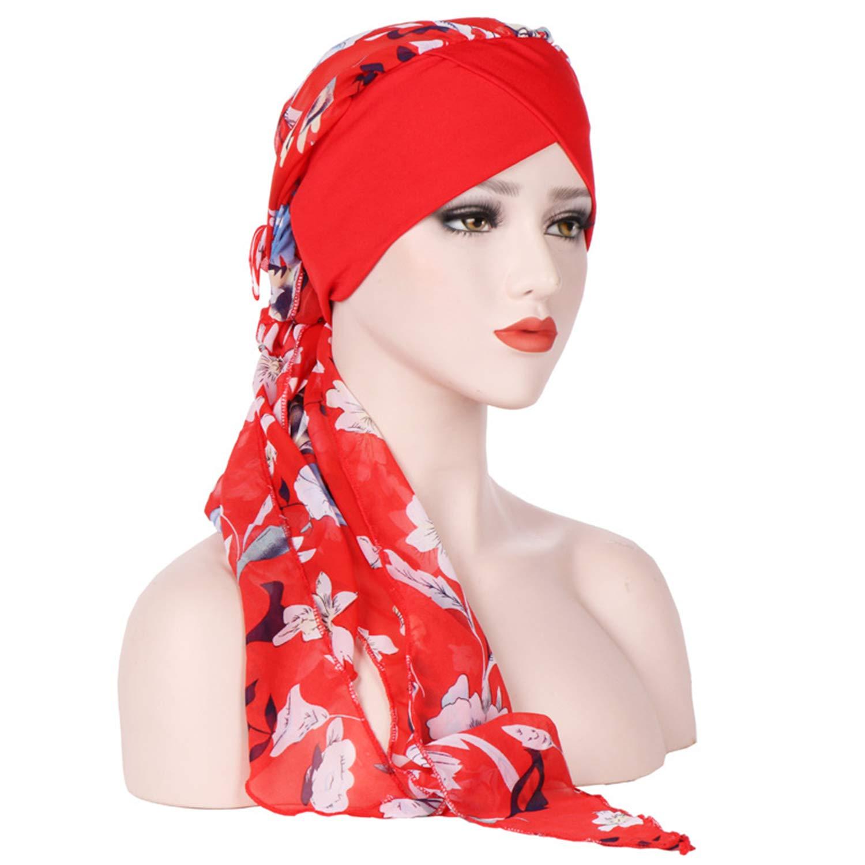 Head Scarf Cover Turban Beanie Hat Chemo Cap Cancer Headwear (Red wine)