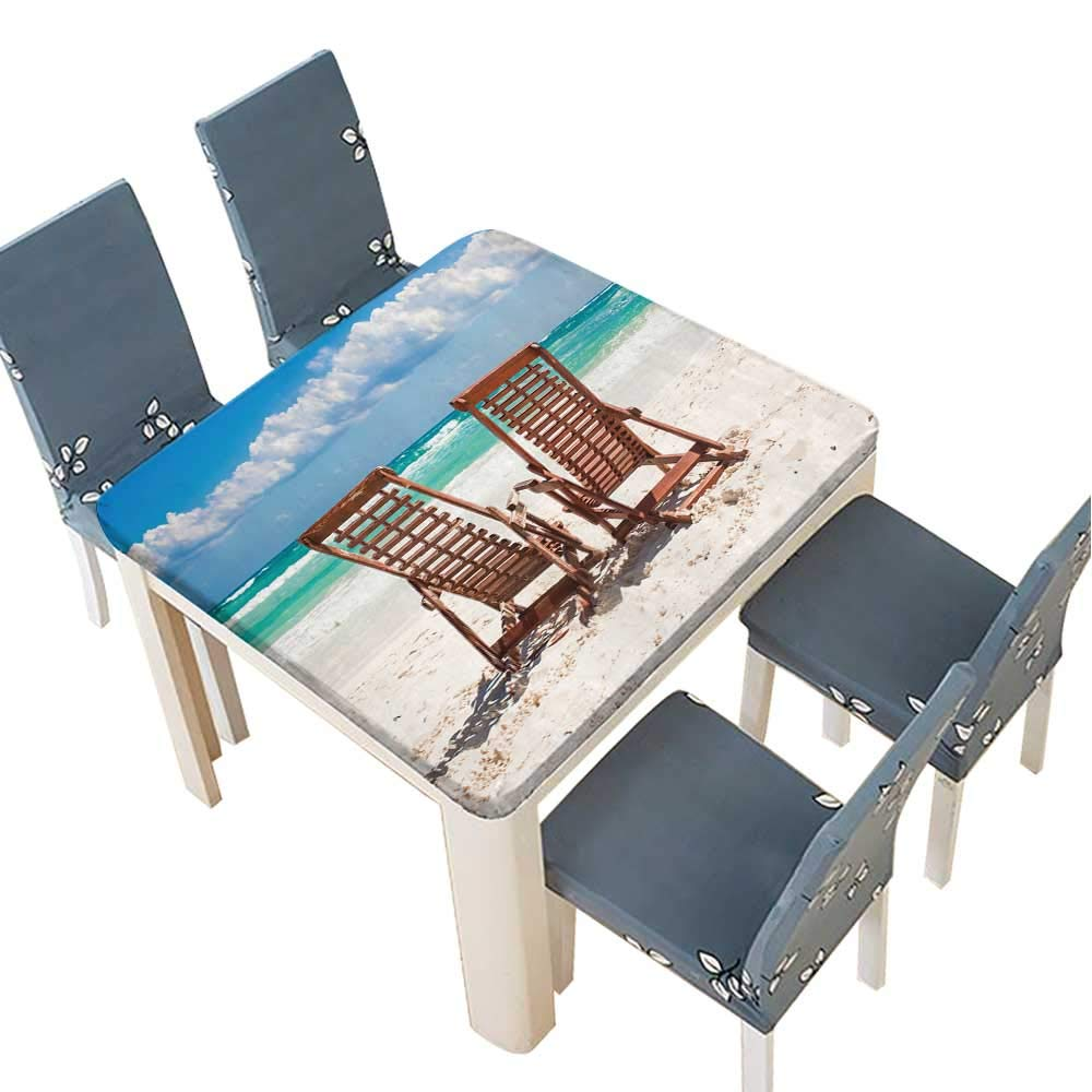 PINAFORE Polyesters Tablecloth Beach Wooden Chairs for Vacations and Relax on Tropical White Sand Beach in Tulum,Mexico Wedding Birthday Baby Shower Party 29.5 x 29.5 INCH (Elastic Edge)