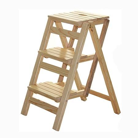 Bar stoolsQX IAIZI Escalera Plegable de Madera Maciza casa Multiuso Escalera Escalera Taburete Creativo Escalera de Escalada Interior Escala pequeña Creativa (Color : A): Amazon.es: Hogar