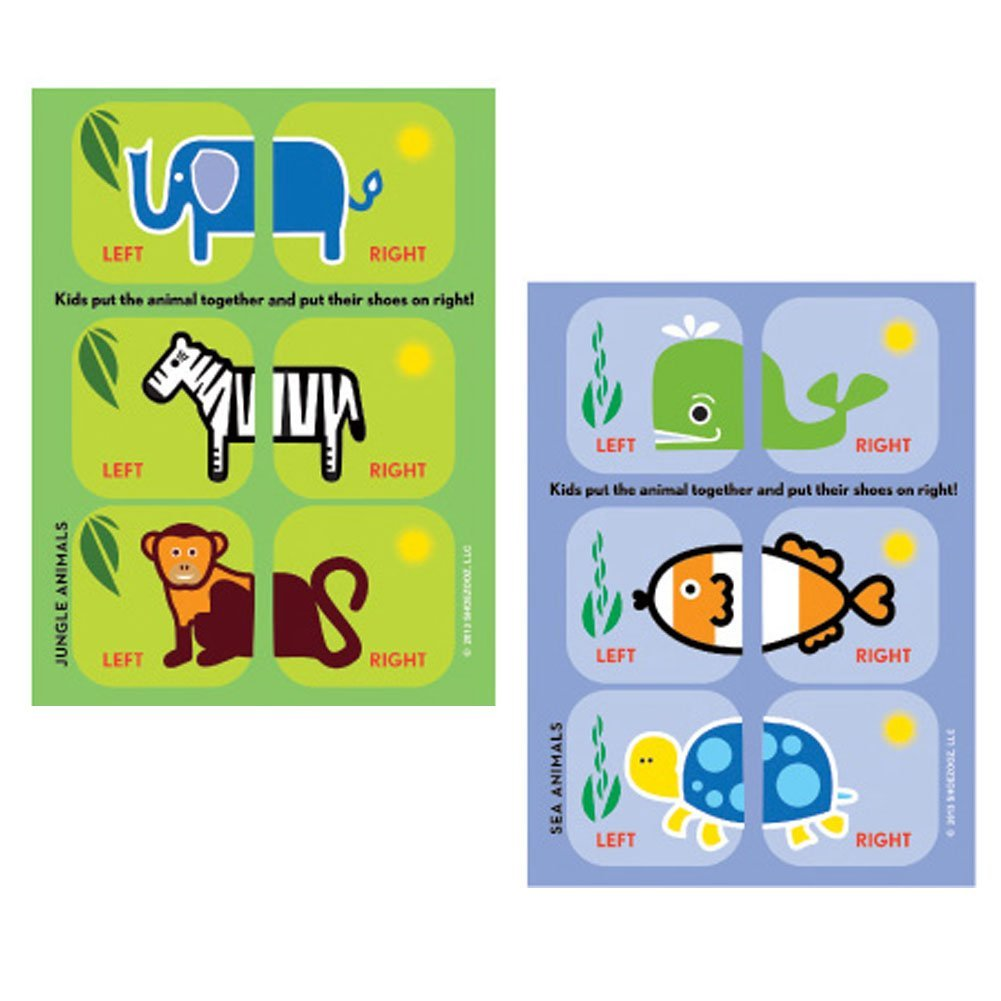 Shoezooz Educational Shoe Stickers for Kids - 2 Pack (Jungle/Sea)