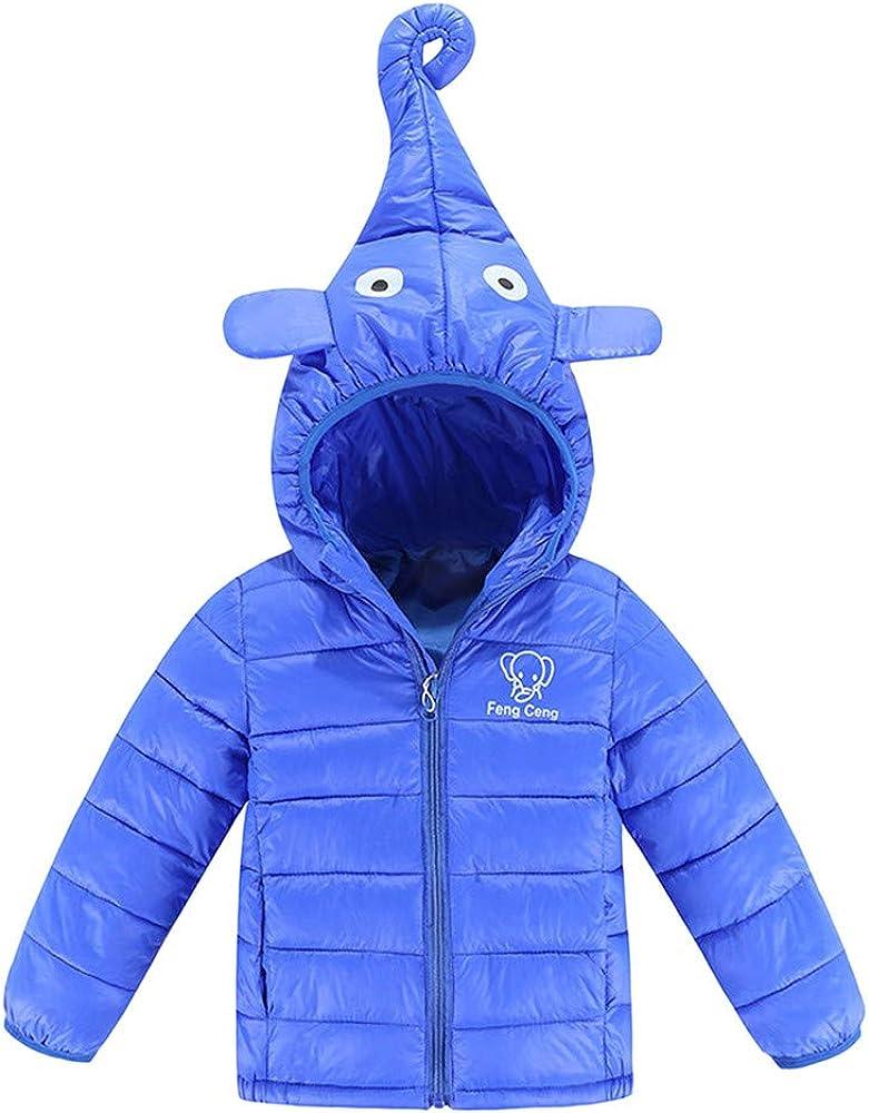WARMSHOP Children Kids Boys Girls Hooded Outerwear,2018 Winter Warm Elephant Thick Fur Down Jacket Windproof Zipper Coat
