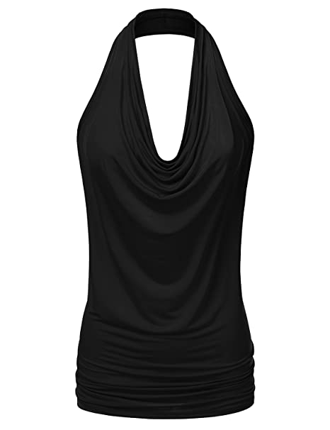 88be1a72562b79 NINEXIS Women s Halter Neck Draped Front Open Back Top at Amazon ...