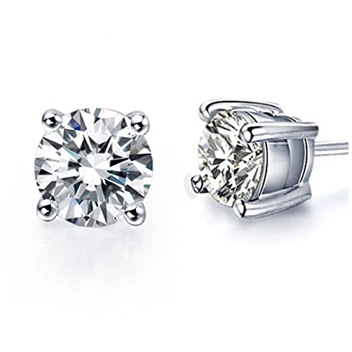 c0973325e6fc3 Amazon.com: Sterling Silver 4 Prongs Setting Zircon Diamond Stud ...