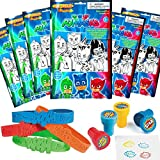 PJ Masks Party Favor Set - 6 Take & Play Coloring Play Packs, 12 Superhero Sayings Bracelets, 12 Super Hero Stampers