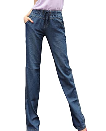 8508d342333e3 Abetteric Women Straight Cotton Simple Elastic Empire Waist Plus Size Jeans  Dark Blue 2XL