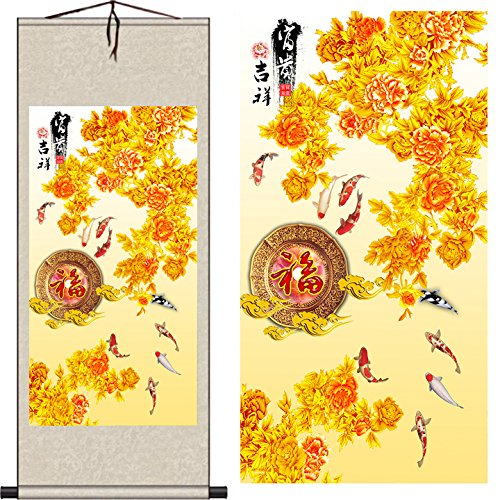 MODEBESO Silk Chinese Painting flower & fish Home Decorate C