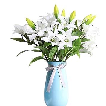 Amazon De Kunstliche Blumen Weisse Lilie Gkongu 4 Stuck Realistisch