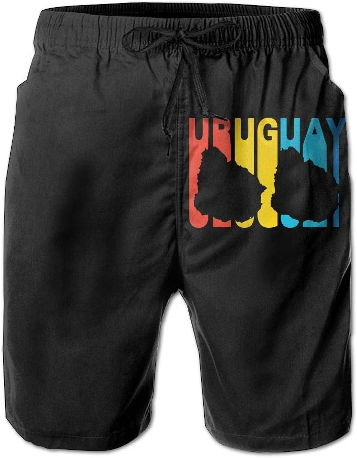 Uruguay Retro 1970s Style Mens Fashion Beach Shorts Drawstring Swim Trunks with Pockets