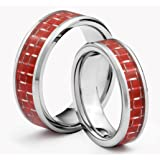 His & Her's 8MM/6MM Tungsten Carbide Wedding Band Ring Set w/ Red Carbon Fiber Inlay (Available Sizes H - Z+2) EMAIL US WITH YOUR SIZES
