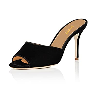 a4c42d1a923c7 XYD Women Peep Toe Mule Slide Sandals Slip on Stiletto High Heel Dress Pump  Shoes Size