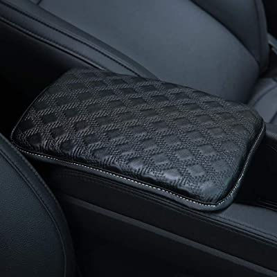 Forala Auto Center Console Pad PU Leather Car Armrest Seat Box Cover Protector Universal Fit (Black-L): Automotive