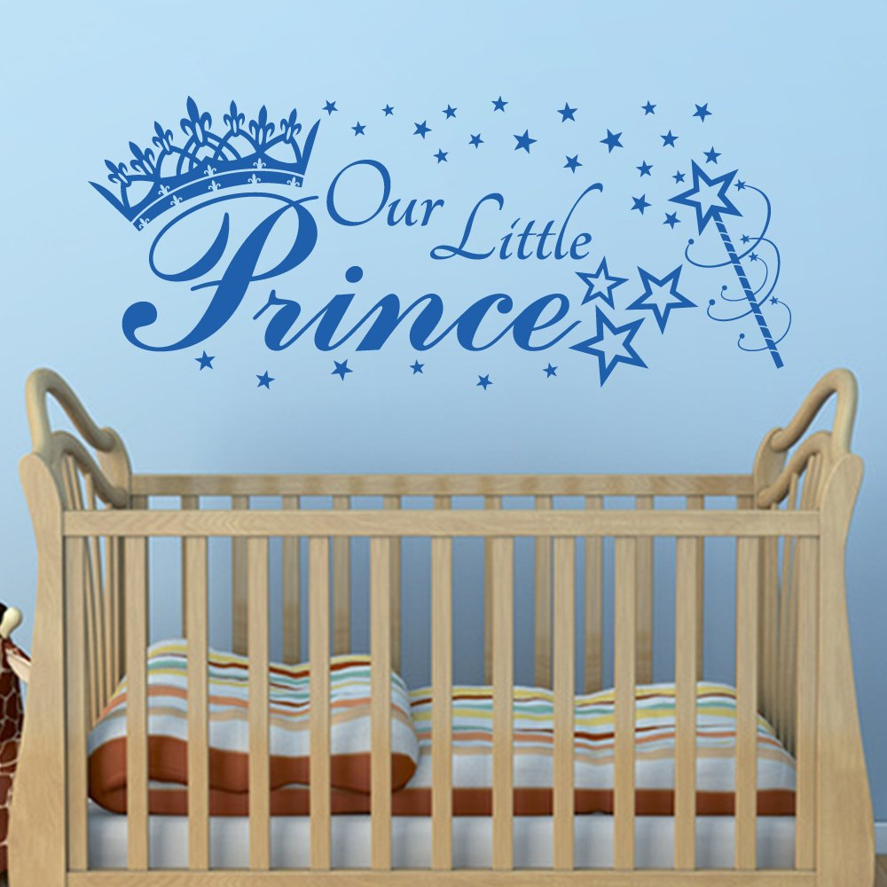 OUR LITTLE PRINCE, quote wall art sticker decal with crown, stars ...