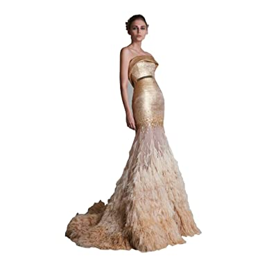 Fenghuavip Strapless Long Gold Ostrich Feather Mermaid Evening Dresses (2)