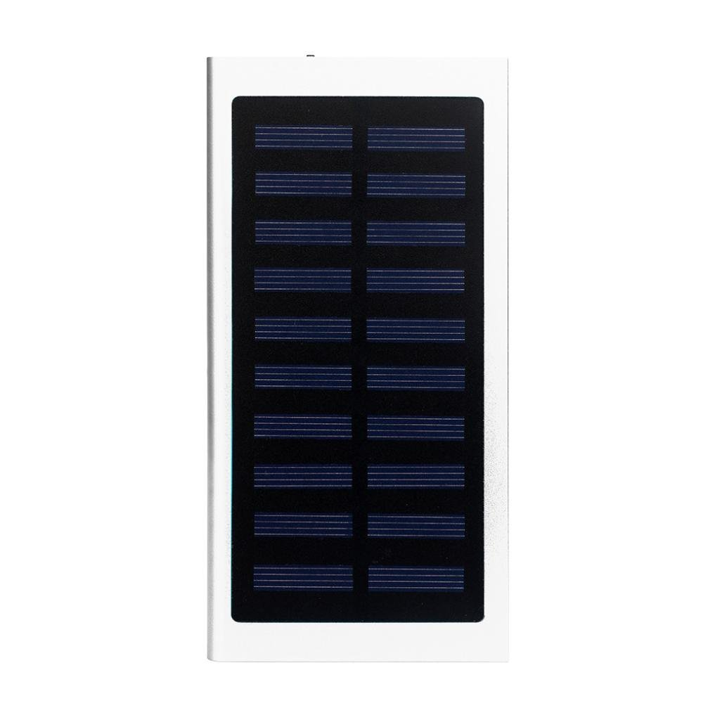 Solar Charger,HP95(TM) Ultrathin 20000mAh Power Bank Portable External Dual USB Battery Charger for Cell Phone,Bluetooth Headsets,PDAs, MP3 Players, Gaming Devices, Digital Cameras, SONY PS3 (Silver)