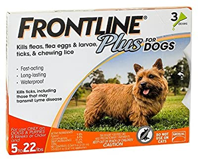 Merial Frontline Plus Flea and Tick Control for 5-22 Pound Dogs and Puppies from Merial