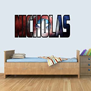 L Personalised Marvel Shield Childrens Name Stickers Wall Art Decal Vinyl for Boys/Girls Bedroom