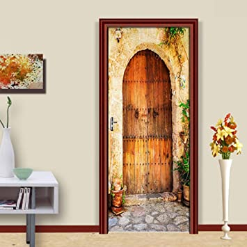 Pvc Autoadhesivas Pegatinas Para Puertas Calle Antigua Puerta De Madera 3D Puerta Corredera Empapelado Salón Dormitorio Decoración Del Hogar Pegatinas De Pared 77 * 200Cm: Amazon.es: Bricolaje y herramientas