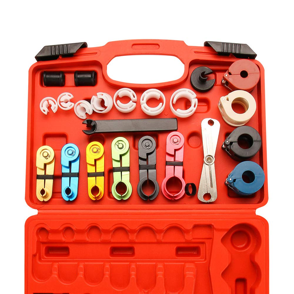 X XINDELL 22pcs Master Quick Disconnect Tool Kit for Automotive AC Fuel Line and Transmission Oil Cooler Line, Includes Scissor Type Remover, Compatible with Most Ford Chevy GM Models