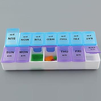 14 compartimentos para pastillas de medicina, caja de almacenamiento de plástico 7 días pastillero dispensador semanal Am Pm pastillero 2 veces al día pequeño pastillero organizador para viajes negocios casa pastillero caja :