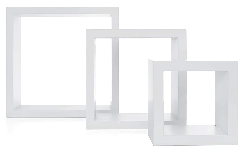 "kieragrace Stockholm Cubbi Floating Wall Shelves, 5"" x 5"", 7"" x 7"", 9"" x 9"", White, Set of 3 (Renewed)"