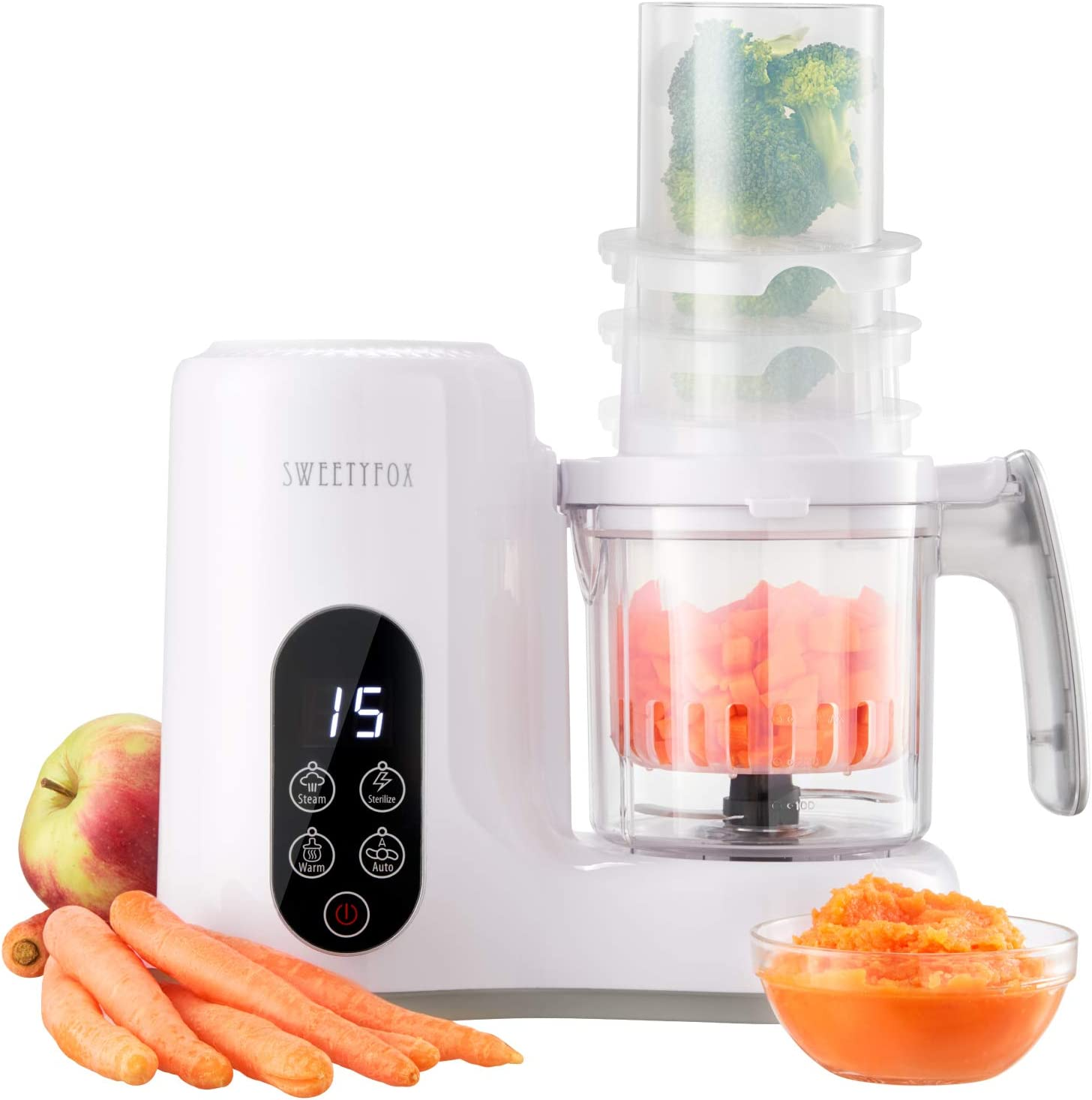 6-in-1 Baby Food Maker Steamer and Blender - Vegetable Steamer, Baby Food Blender, Bottle Sanitizer, Food Warmer, Defrost, Auto Clean - Baby Food Processor to Make Organic Baby Food