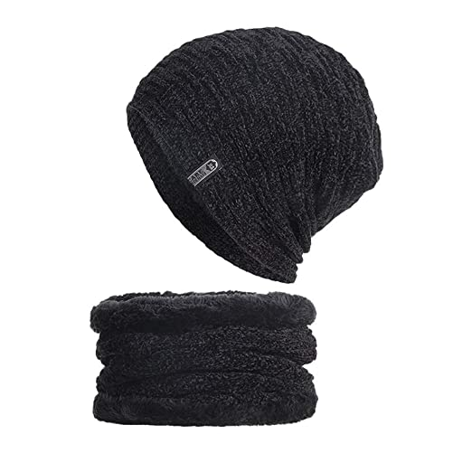 4977202cfaf03d 2019 Individuality Hat 2-Pieces Winter Beanie Hat, Scarf Set Warm Knit Hat  Thick Knit Skull Cap Unisex Black at Amazon Women's Clothing store: