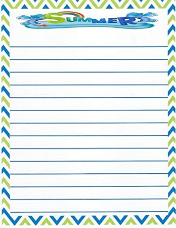 Kids Camp Summer Lined Stationery Paper 26 Sheets  Lined Stationery Paper