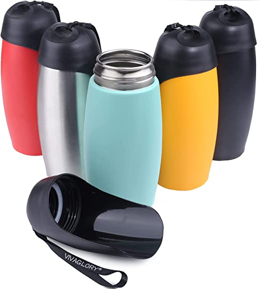 Vivaglory Stainless Steel Dog Water Bottle, 25oz Portable & Leakproof Dog Travel Water Bottle with Large Trough for Walking & Hiking