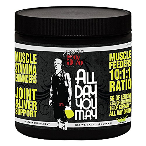 Rich Piana 5 Nutrition All Day You May BCAA Joint Recovery Drink Lemon-Lime 17.2oz 465g 30 Servings