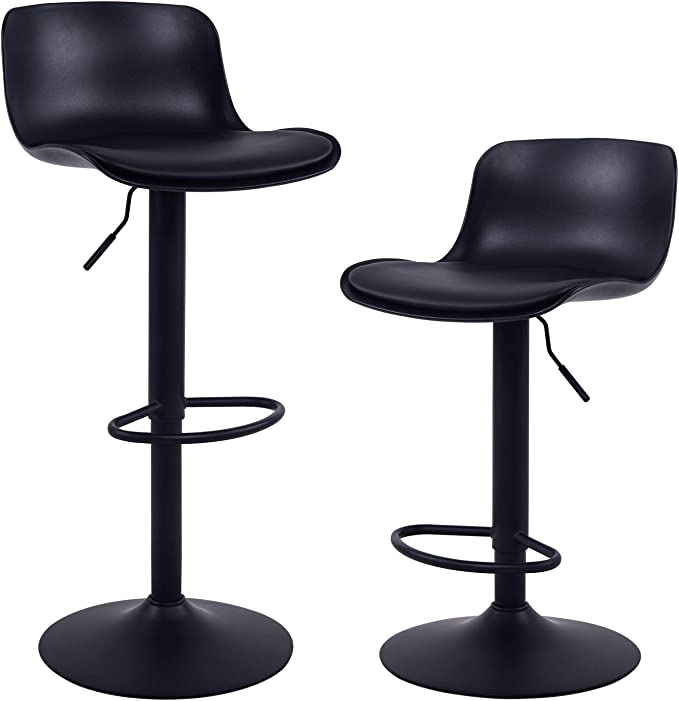 Younike Furniture Modern Design Barstools With Adjustable Height And 360 Rotation Ergonomic Streamlined Polypropylene High Bar Stools For Bar Counter Kitchen And Home Set Of 2 Black Amazon Co Uk Kitchen Home