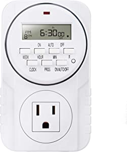 Smart Digital Programmable Outlet Timer, 7 Day Heavy Duty, with LCD Display for Lights Lamps, Set Up to 8 On/Off Programs for Plug In Electrical Outlets