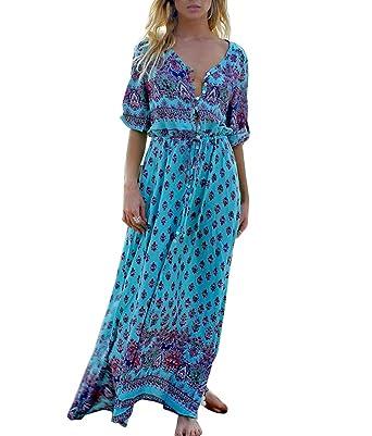 f29feee2f96 Chic Femme Manche 3 4 Col V Vintage Boheme Imprimé Ethnique Longue Robe de  Plage Cocktail  Amazon.fr  Vêtements et accessoires