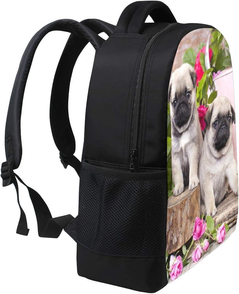 Pug Puppy Flower Roses Print Laptop Backpack High School Bookbag Casual Travel Daypack