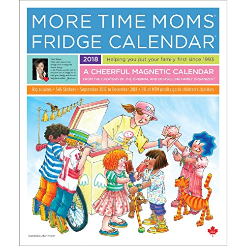 More Time Moms - 2018 Deluxe Fridge Calendar Family Organizer - September 2017 To December 2018