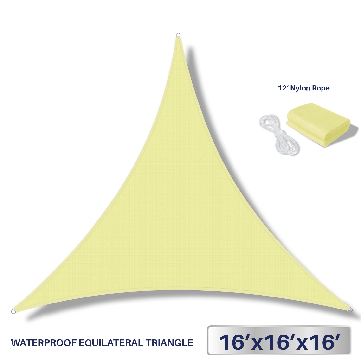 Windscreen4less Terylene Waterproof Sun Shade Sail UV Blocker Triangle Sunshade Patio Canopy Sail 16' x 16' x 16' in Color Canary Yellow