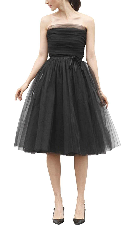 SecretCastle Women's Short Bridesmaid Tulle Skirt Tutu Princess Dress for Wedding