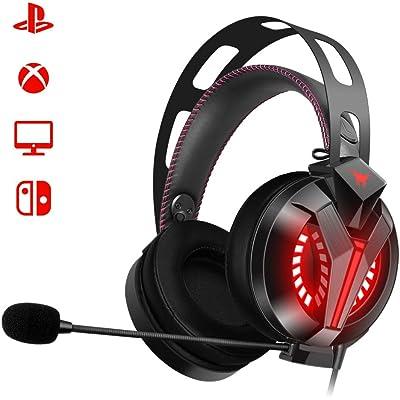 Auriculares Gaming PS4, Cascos gaming con Micrófono para PC, xbox one, Sonido Estéreo Cancelación de Ruido 3.5mm Jack Sonido 7.1 Surround, Auriculares Gamer para Videojuego