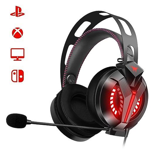 Combatwing Auriculares Gaming para PS4 PC con Micrófono, Cascos Gaming de Diadema Sonido Estéreo Cancelación de Ruido 3.5mm Jack con Luz LED para ...