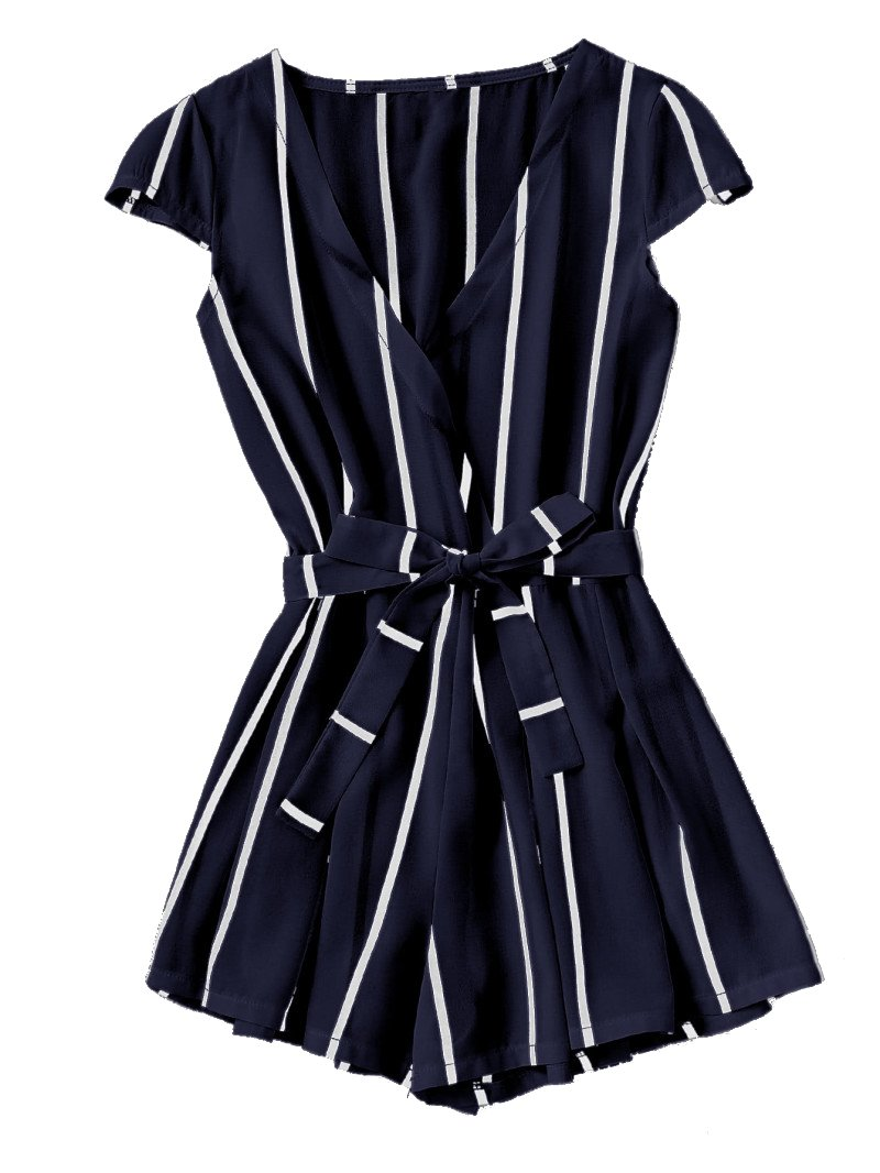 Romwe Women's Casual Vertical Striped Jumpsuit Romper with Belt Navy S