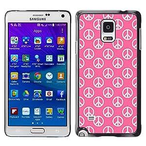 Be Good Phone Accessory // Dura Cáscara cubierta Protectora Caso Carcasa Funda de Protección para Samsung Galaxy Note 4 SM-N910 // Peace Hippie Symbol Love Pink Wallpaper Sign