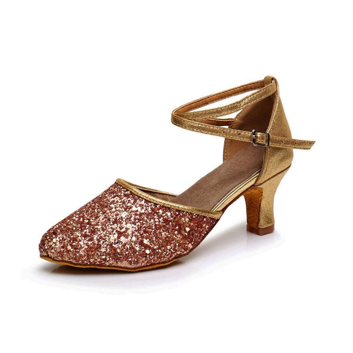 MELLOW SHOP ラテンダンスシューズ タンゴ サルサ ボールルーム ダンス ハイヒール ソフトダンスシューズ 5/7cm 6 B07RLQRWNX Rose Gold 7cm 6