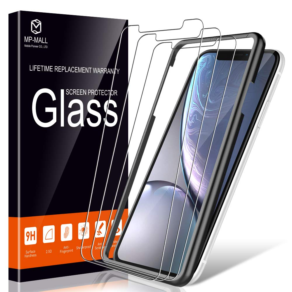 """MP-MALL [3-Pack] Screen Protector for iPhone 11 / iPhone XR 6.1"""" Tempered Glass Frame Easy Installation with Lifetime Replacement Warranty"""