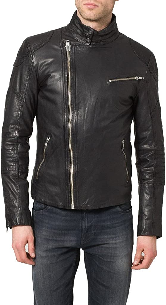 Mens New Genuine Cow Leather Designer Mens Motorcycle Biker Jacket KC159