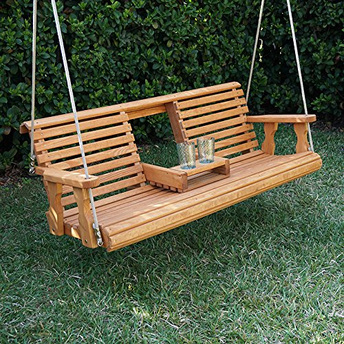 Porchgate Amish Heavy Duty 800 Lb Rollback Console Treated Porch Swing With Hanging Ropes (Cedar Stain) - Amish Console
