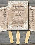 custom wedding fans - Personalized Wedding fans/ Wedding fans for guests/Wedding program fans/Wedding favors/Rustic Wedding/Burlap and Lace
